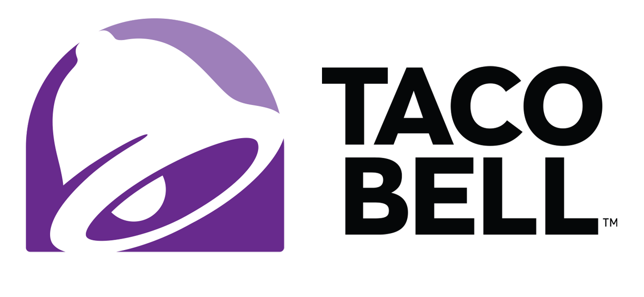 Taco Bell Logo white bell on purple background